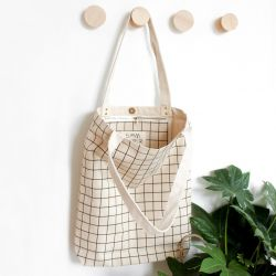 Cotton Canvas Tote Bag | Black Grid Lines