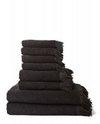 Set of 8 Towels | Black