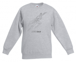 Sweater ♂ Superdad Superhero Illustratie | Grijs