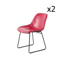 Chaise Doris Set de 2 | Rose / Rouge