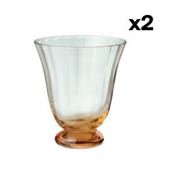 Set of 2 Water Glass Trellis | Peach