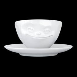 Grinning Coffee Cup and Saucer | White
