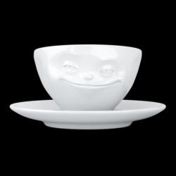 Grinsende Kaffeetasse und Untertasse | Weiß