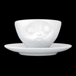 Küssende Kaffeetasse und Untertasse | Weiß