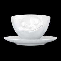 Coffee Cup and Saucer Happy | White