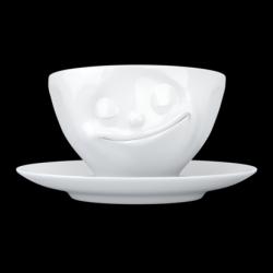 Kaffeetasse und Untertasse Glücklich | Weiß