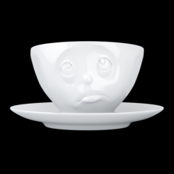 Kaffeetasse und Untertasse Oh bitte | Weiß