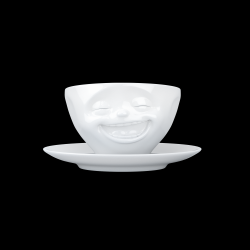 Coffee Cup and Saucer Laughing | White