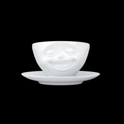 Kaffeetasse und Untertasse Lachen | Weiß