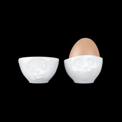 Set of 2 Egg Cups Oh Please & Tasty | White