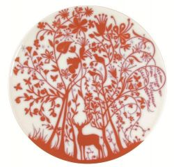 "Set of 2 flat plates ""Deer In the Forest"" Red"