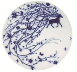 "Set of 2 flat plates ""Horse"" Blue"