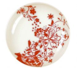 "Set of 6 deep plates ""Horse and Animal"" Red"