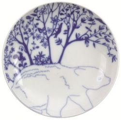 "Set of 6 deep plates ""Beer in Mountain"" Blue"