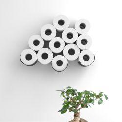 Aufbewahrung von Toilettenpapier | 3 Regale | Schwarzer Stahl