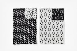 Tea Towels - Wave/Drop - Set of 2 | Black & White