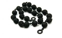 Textured ball necklace - Black