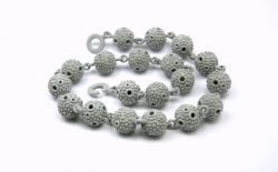 Textured ball necklace - Grey