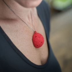 Textured dome necklace - Red
