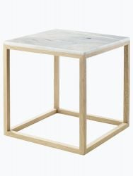Cube Table | Oak & White Marble