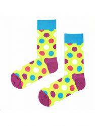 Unisex Socks | Half Huge Dots Neon