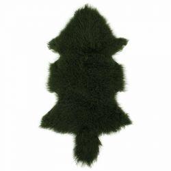 Tibetisches Schafsfell | Dunkelgrün