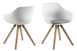 Chair Tonta | Set of 2 | Wood, White & Light Grey