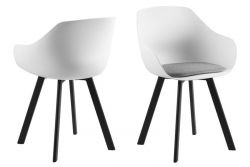 Chair Tonta | Set of 2 | Black, White & Light Grey