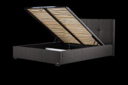 Gepolstertes Bett Cobalt mit Staumöglichkeit | Dunkelgrau