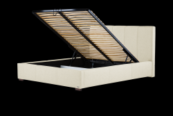 Gepolstertes Bett Onyx mit Staumöglichkeit | Creme
