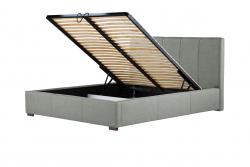 Gepolstertes Bett Onyx mit Staumöglichkeit | Hellgrau