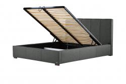 Gepolstertes Bett Onyx mit Staumöglichkeit | Dunkelgrau