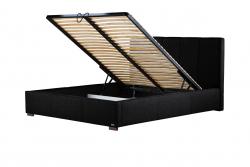 Gepolstertes Bett Onyx mit Staumöglichkeit | Schwarz