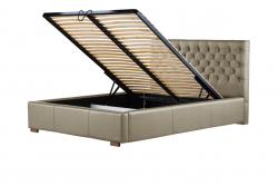 Gepolstertes Bett Amethyste mit Staumöglichkeit | Beige