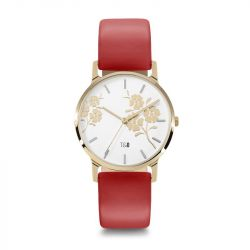 Frauen-Uhr Bloom 34 Leder | Gold//Weiß/Rot