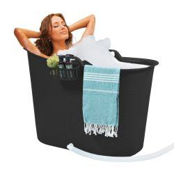 Kompakter Badeeimer + Kissen | Schwarz