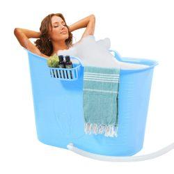 Kompakter Badeeimer + Kissen | Blau