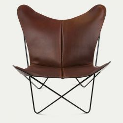 Butterfly Trifolium Chair Cognac & Black Frame
