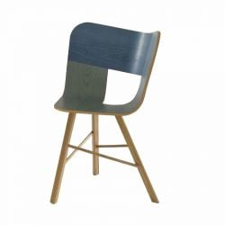 Tria wood chair 3 legs | Tri color denim
