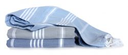 Hammam Towel Turkuaz Set of 3 | Denim & Sky Blue & Grey