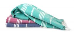 Hammam Towel Turkuaz Set of 3 | Red, Denim & Peppermint
