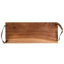 Serving Tray Pure Teak Wood | With Leather Handle II