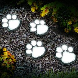 Solar Lamp Paw Print Set of 4