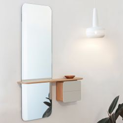 Mirror One Look | Oak | Pearl White