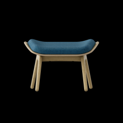 Footstool The Reader Oak | Petrol Blue