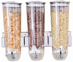 Wall Mounted Triple Cornflakes Dispenser | Silver