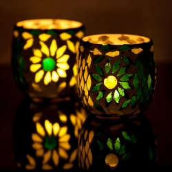 Candle Holder Oriental Mosaic Ball Set of 2 | Green