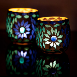 Candle Holder Oriental Mosaic Ball Set of 2 | Blue