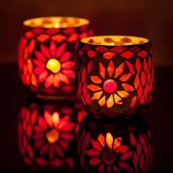 Candle Holder Oriental Mosaic Ball Set of 2 | Red