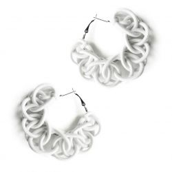 Textile Hoop Earrings | Off-White